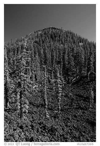 Lava rocks and cinder cone, Wizard Island. Crater Lake National Park (black and white)