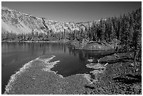 Fumarole Bay, Wizard Island. Crater Lake National Park ( black and white)