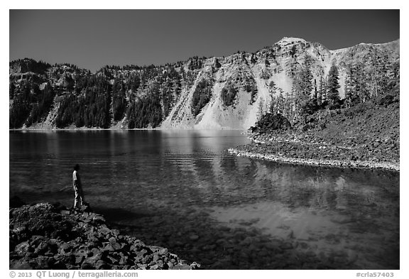 Visitor looking, Fumarole Bay, Wizard Island. Crater Lake National Park (black and white)