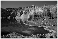 Cove with emerald waters, Fumarole Bay, Wizard Island. Crater Lake National Park ( black and white)