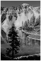 Hemlock, Watchman reflection, and clear waters, Wizard Island. Crater Lake National Park ( black and white)
