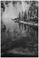 Watchman reflection in clear water of Fumarole Bay, Wizard Island. Crater Lake National Park ( black and white)