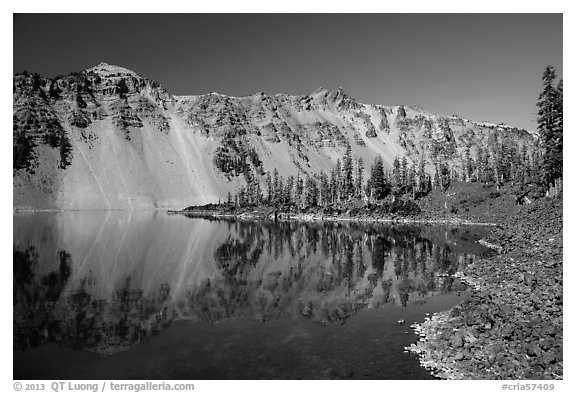 Watchman reflected in Fumarole Bay, Wizard Island. Crater Lake National Park (black and white)
