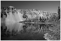 Watchman reflected in Fumarole Bay, Wizard Island. Crater Lake National Park ( black and white)