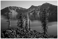Hardened lava flow, Governors Bay, and Garfield Peak from Wizard Island. Crater Lake National Park ( black and white)