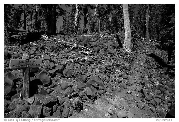 Trail junction and signs, Wizard Island. Crater Lake National Park (black and white)