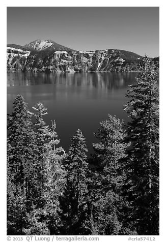 Hemlock, blue waters, and Mount Scott, Wizard Island. Crater Lake National Park (black and white)