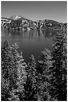 Hemlock, blue waters, and Mount Scott, Wizard Island. Crater Lake National Park ( black and white)