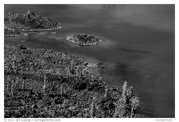 Shoreline of Wizard Island seen from top of cinder cone. Crater Lake National Park (black and white)