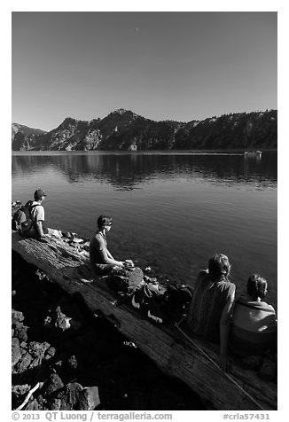 Visitors waiting for boat pick-up, Wizard Island. Crater Lake National Park (black and white)