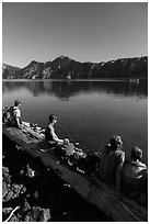 Visitors waiting for boat pick-up, Wizard Island. Crater Lake National Park ( black and white)