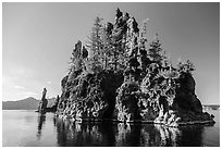 Phantom Ship Island. Crater Lake National Park ( black and white)