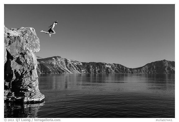Twenty-five foot jump into more than eighty feet of water. Crater Lake National Park (black and white)