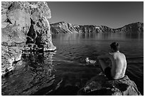Men swimming in lake, Cleetwood Cove. Crater Lake National Park ( black and white)