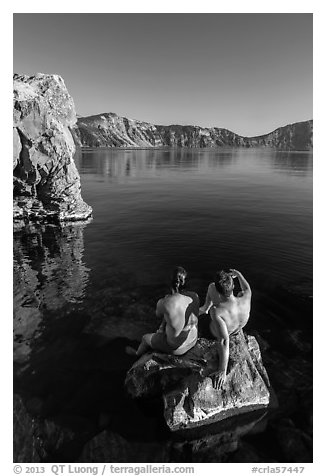 Men sunning on rock, Cleetwood Cove. Crater Lake National Park (black and white)