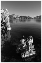 Men sunning on rock, Cleetwood Cove. Crater Lake National Park ( black and white)