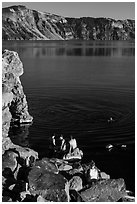 People on lakeshore, Cleetwood Cove. Crater Lake National Park ( black and white)