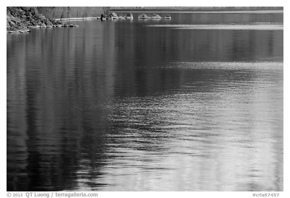 Reflections and lakeshore, Cleetwood Cove. Crater Lake National Park (black and white)
