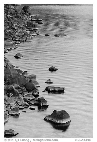 Rocks and evening reflections, Cleetwood Cove. Crater Lake National Park (black and white)