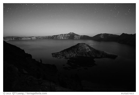 Wizard Island and lake with moonlight. Crater Lake National Park (black and white)