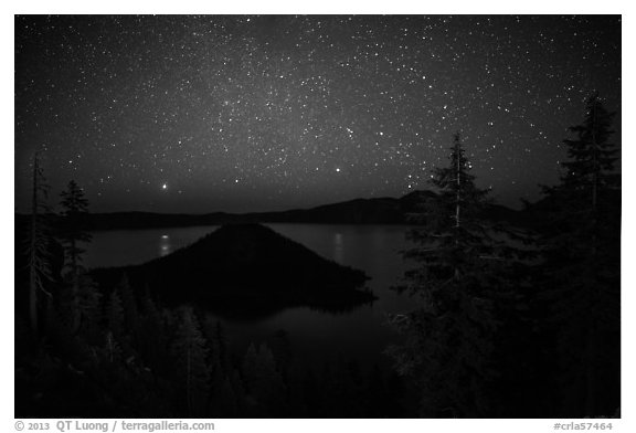 Trees, Wizard Island and lake at night. Crater Lake National Park (black and white)