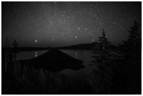 Trees, Wizard Island and lake at night. Crater Lake National Park ( black and white)