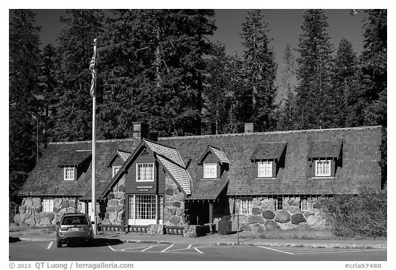 Main crater lake visitor Center. Crater Lake National Park (black and white)