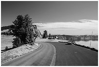 Road near North Junction. Crater Lake National Park ( black and white)
