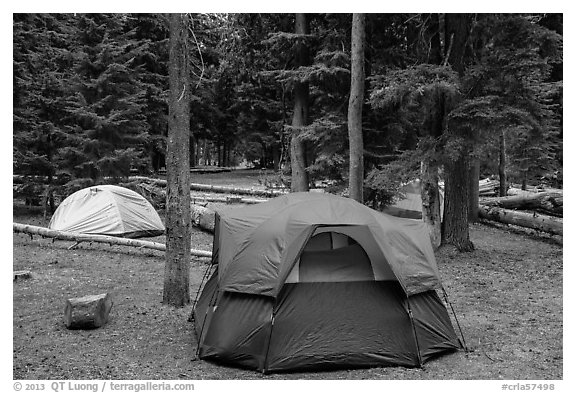 Mazama Village campground. Crater Lake National Park (black and white)