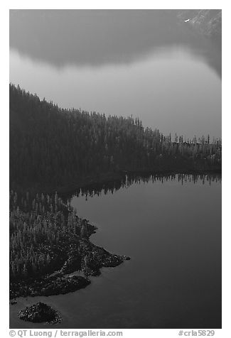 Wizard Island and crater rim reflection, early morning. Crater Lake National Park (black and white)