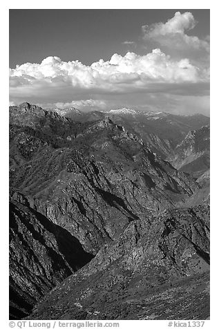 Kings Canyon viewed from  West, late afternoon. Kings Canyon National Park (black and white)