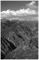 Kings Canyon viewed from  West, late afternoon. Kings Canyon National Park, California, USA. (black and white)