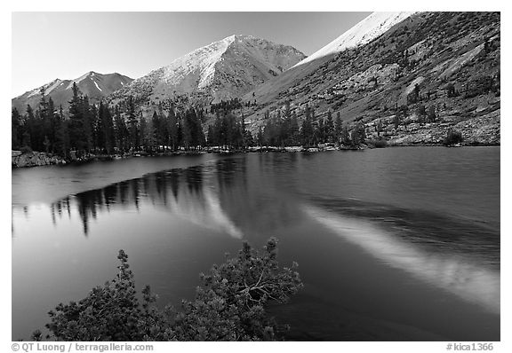 Reflections on lake at sunset. Kings Canyon National Park (black and white)