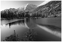 Reflections on lake at sunset. Kings Canyon National Park, California, USA. (black and white)