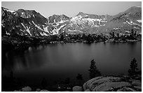 Woods Lake, sunset. Kings Canyon National Park, California, USA. (black and white)
