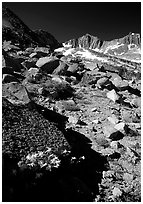 Mountains near Sawmill Pass, morning. Kings Canyon National Park, California, USA. (black and white)