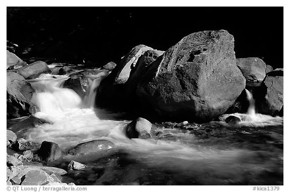 South Fork of  Kings River,  Giant Sequoia National Monument near Kings Canyon National Park. California, USA (black and white)