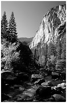 Kings River and cliffs in Cedar Grove. Kings Canyon National Park, California, USA. (black and white)