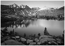 Woods lake, sunset. Kings Canyon  National Park ( black and white)