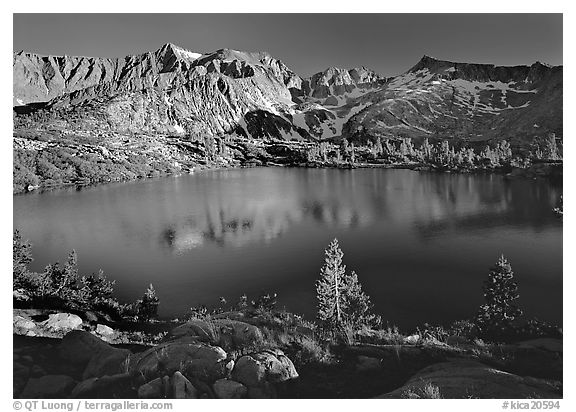 Woods Lake, late afternoon. Kings Canyon  National Park (black and white)