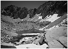 Alpine lake in early summer. Kings Canyon National Park, California, USA. (black and white)