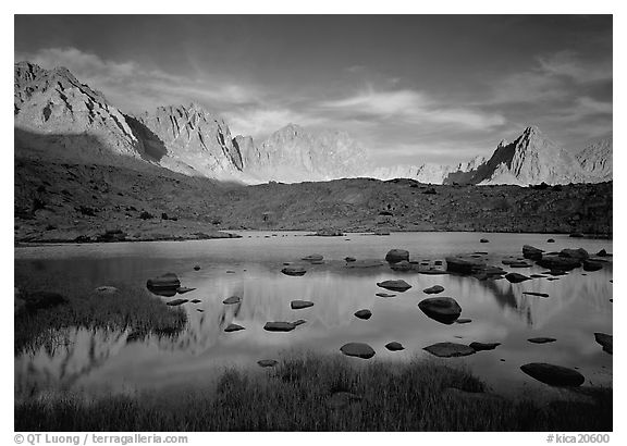 Palissades and Isoceles Peak at sunset. Kings Canyon  National Park (black and white)