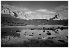 Palissades and Isoceles Peak at sunset. Kings Canyon  National Park ( black and white)