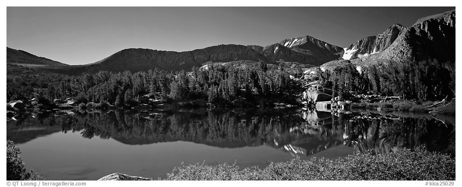 Clear lake with mountain range reflected. Kings Canyon National Park (black and white)