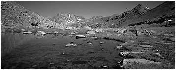 Alpine tarn. Kings Canyon National Park (Panoramic black and white)