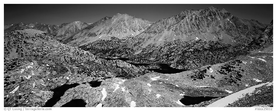 Mineral mountain landscape dotted with lakes. Kings Canyon National Park (black and white)