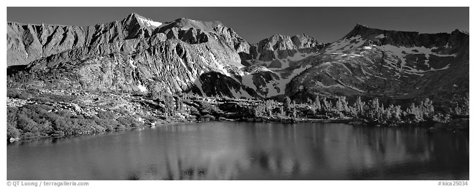 Sierra Mountains and lake in early summer. Kings Canyon National Park (black and white)