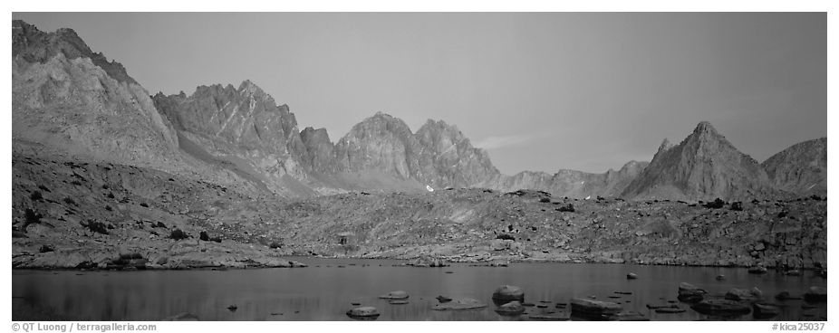 Pink light on High Sierra and lake at twilight. Kings Canyon National Park (black and white)