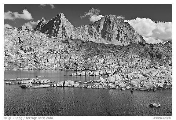 Lake, Isoceles Peak and Mt Giraud, Dusy Basin. Kings Canyon National Park (black and white)