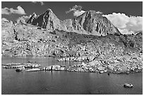 Lake, Isoceles Peak and Mt Giraud, Dusy Basin. Kings Canyon National Park ( black and white)